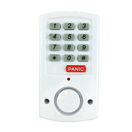 Gadget Zone UK® draadloos raam- en deurbeveiligingsalarmsysteem | Compact systeem met magneetsensor en toetsenbediening - luid alarm door deur of raam te openen - Verstelbare code met paniekknop