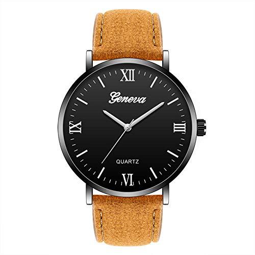 Mirar Cinturón para Hombre Reloj Reloj de Cuarzo número Romano para Hombre Negro Chico