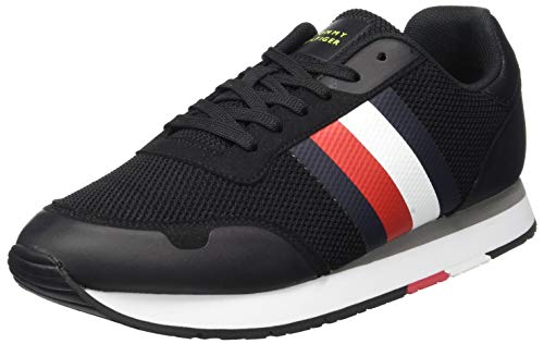 Tommy Hilfiger Herren Corporate Material Mix Runner Sneaker, Schwarz (Black Bds), 44 EU