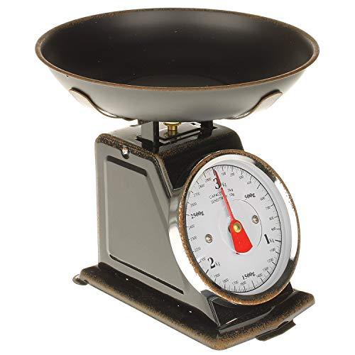MACOSA SA79726 Balance de cuisine rétro avec bol pesée Balance ménager mécanique jusqu'à 3 kg Design vintage Balance alimentaire pour la cuisine et la pâtisserie