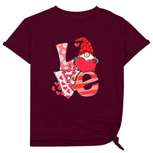2021 Nuevo Crop Tops para las mujeres de la calle de las mujeres camiseta cuello redondo camisas de verano tops para las mujeres de San Valentín muñeca tops mujer vino XXXL