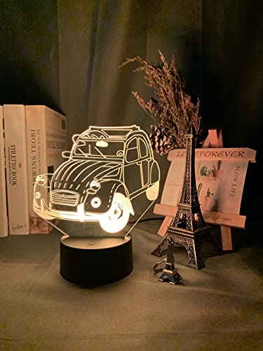 HSHHJSH Illusión 3D Luz de Noche LED para decoración del hogar Dormitorio para niños Dormitorio Adulto Oficina Decoración Luz Fresca Coche Coche 3D Lámpara (Color : 16 Color with Remote)