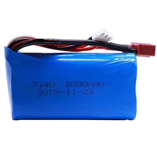 Grehod Batería Lipo de 7,4 V 3000 mah 18650 para Wltoys 12428 12401 12402 12403 12404 12423 FY-03 FY01 FY02 RC Juguetes batería repuestos JSTPlug