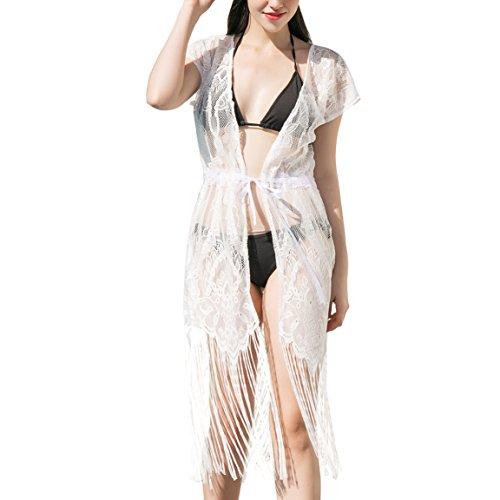 soul young Sommer Lace Sehen Durch Strand Kimono für Damen,Frauen Pareos Cardigan Cover up Sommerkleider für Bikini(One Size,Weiß)
