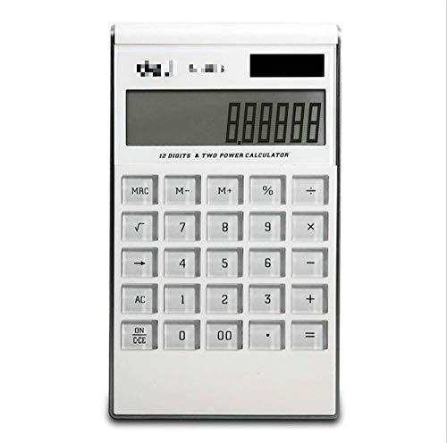 Calculadora de doble potencia Calculadora de pantalla grande Ultra-delgada calculadora blanca calculadora de escritorio