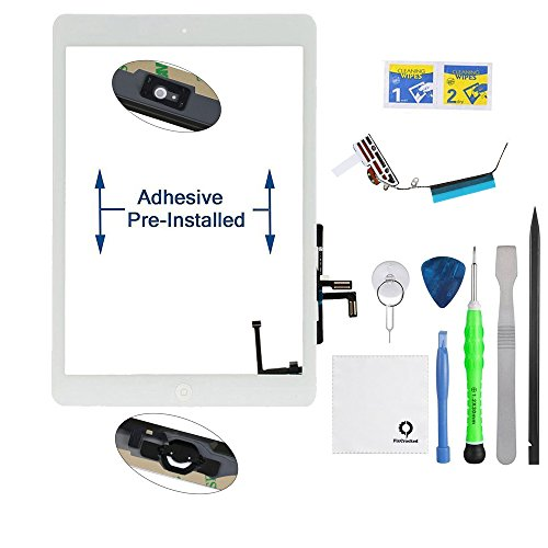 Fixcracked Touch Screen Replacement Parts Digitizer Glass Assembly for Ipad air 1st + WiFi Antenna Cable and Professional Tool Kit (White)