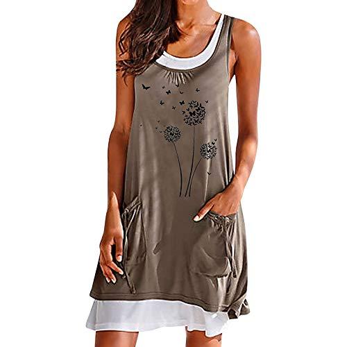 Sommerkleid Damen Midi Ärmellos Knielang Boho A-Linie Kleid U-Ausschnitt Casual Strand Kleider Lose Minikleid Strandkleider (S, Q-Khaki)