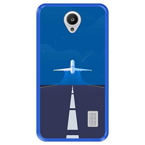 Funda Azul para [ Huawei Y635 ] diseño [ Avión despegando, Listo para una Nueva Aventura ] Carcasa Silicona Flexible TPU
