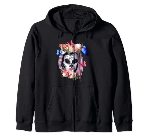 Dia De Los Muertos Sugar Skull Crneo Day Of The Dead Sudadera con Capucha