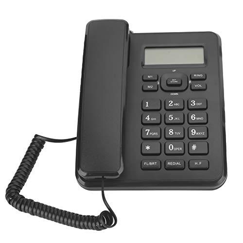 KX-T6001CID Teléfono fijo, teléfono de escritorio con cable de oficina comercial de línea fija con cable negro para el hogar con 16 tonos de llamada, compatible con pantalla de identificación de llama