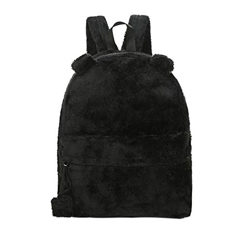 Onemoret cute Bear zaino–Zaino per la scuola Teenage zaini con pelliccia peluche di grande inverno borsa da viaggio Mochila Escolar, Nero
