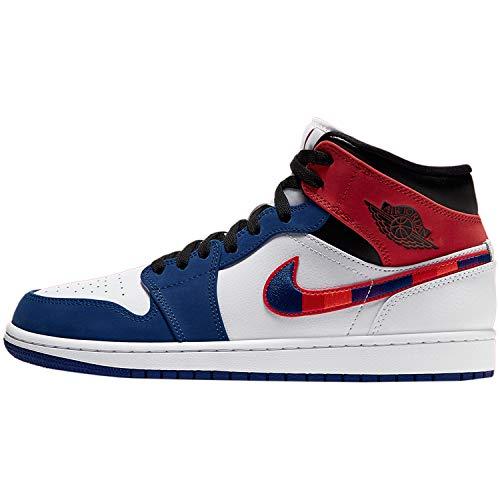 Nike Air Jordan 1 Mid SE, Scarpe da Basket Uomo, White/Univ Red/Rush Blue/Black, 42.5 EU