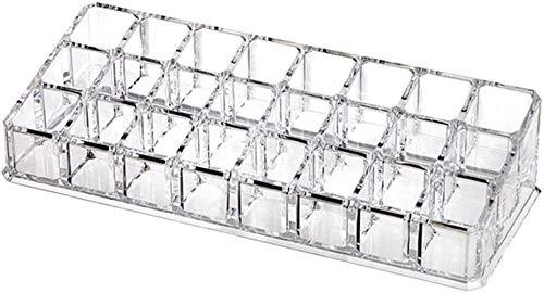 Stockage Stockage cosmétique Stockage de support transparent en plastique Rouge à lèvres Rouge à lèvres 24 Grille Boîte de rangement Boîte de rangement cosmétique Présentoir Rack maquillage outil de s