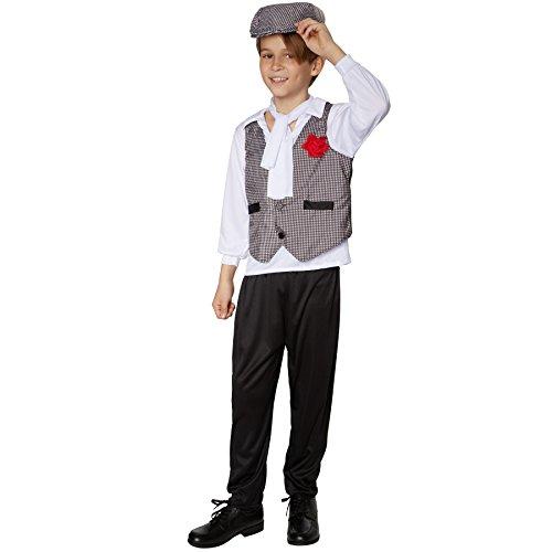 TecTake dressforfun Jungenkostüm Swinging Charlston | Edel wirkende Kombination aus Hemd und Weste | Stilvolle, Lange Hose in schwarz | Inkl. schönem Halstuch (140 | Nr. 301574)