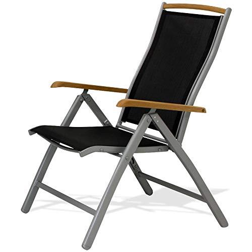 IB-Style Diplomat Hochlehner | Klappstuhl | Aluminium -Textilen -Teakholz |Mehrfach gewebt | Silber