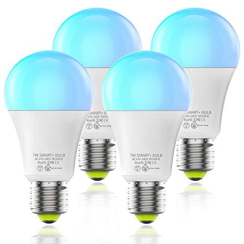 HaoDeng WiFi スマート LED電球 マルチカラー(1600万色+電球色+昼光色 )アレクサ対応 Google Home対応 60W相当 E26/27口金 家電照明 超省エネライト 調光調色ランプ リモコン 目覚め 4個セット
