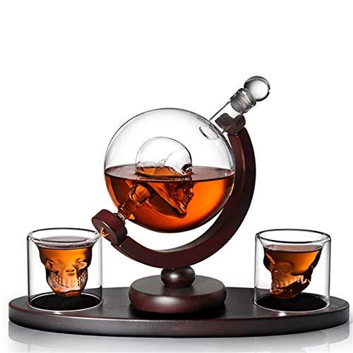 QULONG Set caraffa e Bicchieri per Vino in Vetro con Teschio, Globo di Whisky con Base in Legno, 800 ml con 2 Bicchieri per liquore, Scotch, Bourbon, Brandy, Vodka