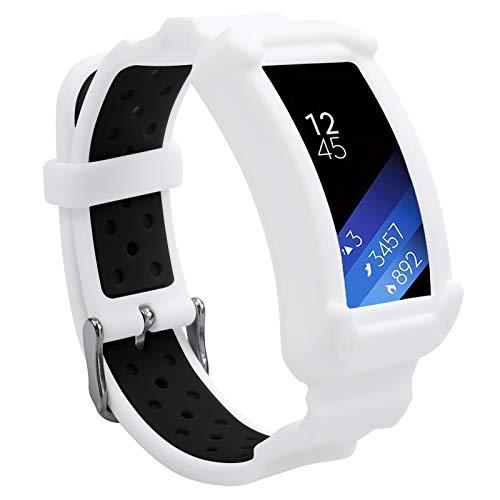 Wonlexバンド Samsung Gear Fit2 / Fit2 Pro用 シリコン交換用時計バンドストラップ Galaxy Gear Fit2 SM-R360 & Fit 2 Pro対応 男女兼用 (ホワイト/ブラック)