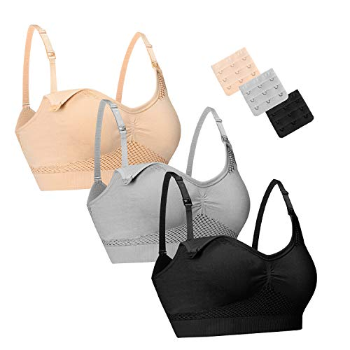 HOTFISH 3PACK Women's Seamless Wireless Maternity Bra for Breastfeeding Clip Down Nursing Bras With Extender Small