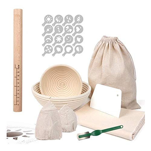 HOTOOLME Gärkörbchen Rund Proofing Baskets 16cm + 22cm, mit Bäckerleinen, Nudelholz, Teigschaber, Bäckermesser, Gärkörbchen set für Brot