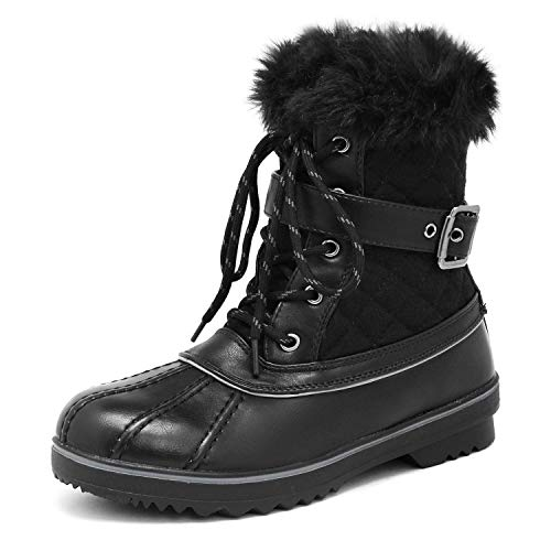DREAM PAIRS Women's River_3 Black Mid Calf Winter Snow Boots Size 8 M US