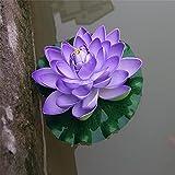 Loto artificial,loto falso,Flores flotantes,1 pieza de 17 cm de espuma de loto artificial para jardín,Flores de loto,lirio de agua,plantas flotantes,decoración de jardín,morado