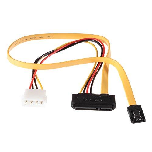 Poppstar 1x Sata 3 HDD SSD Dualkabel (bis zu 6 GBit/s), Y-Kabel Stromadapter - Datenkabel (50cm) und Stromkabel (30cm), gelb