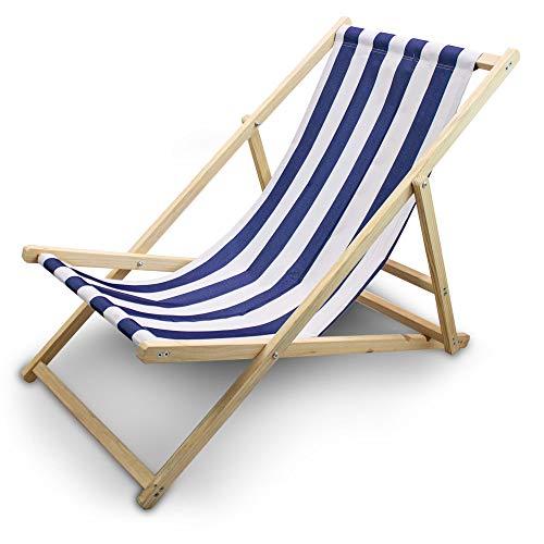 BITUXX® Liegestuhl Sonnenliege Gartenliege Holzliege Strandliegestuhl Holz Klappbar (Blau/Weiß Gestreift)