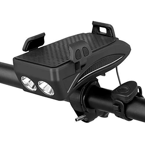 Luces Bicicleta, Luz de bicicleta a prueba de agua 4 en 1 con bocina de bicicleta y soporte para teléfono y banco de energía, Luz delantera para ciclista de seguridad con fácil instalación,Negro