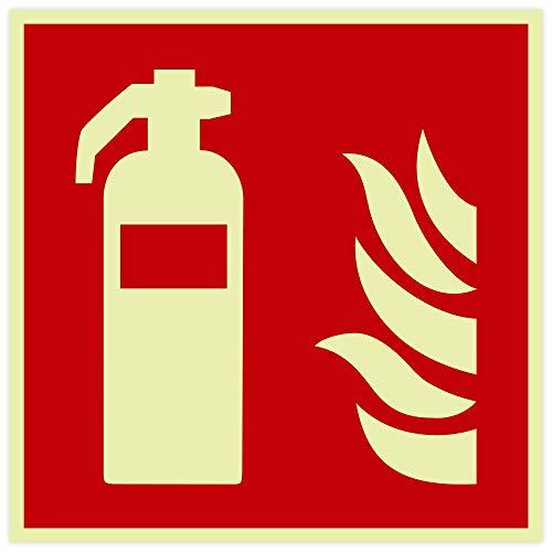 3 Aufkleber Feuerlöscher | langnachleuchtend | Folie selbstklebend 200x200mm | DIN EN ISO 7010 F001 | DIN 67510 (Brandschutzzeichen) | 3er Sparpack