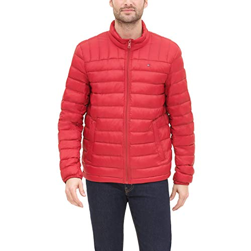 Tommy Hilfiger Men's Lightweight Water Resistant Packable Down Puffer Jacket (Standard and Big & Tall), Crimson, Medium