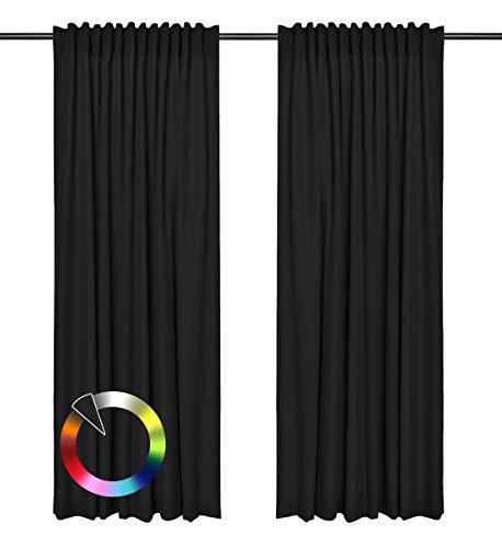 Rollmayer Vorhänge mit Tunnelband Kollektion Vivid (Schwarz 34, 135x260 cm - BxH) Blickdicht Uni einfarbig Gardinen Schal für Schlafzimmer Kinderzimmer Wohnzimmer