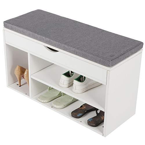 Wakects Zapatero, asiento con espacio de almacenamiento, banco para zapatos de madera, con asiento, 30 x 80 x 45,5 cm, para pasillo, armario, zapatero, carga máxima de 100 kg