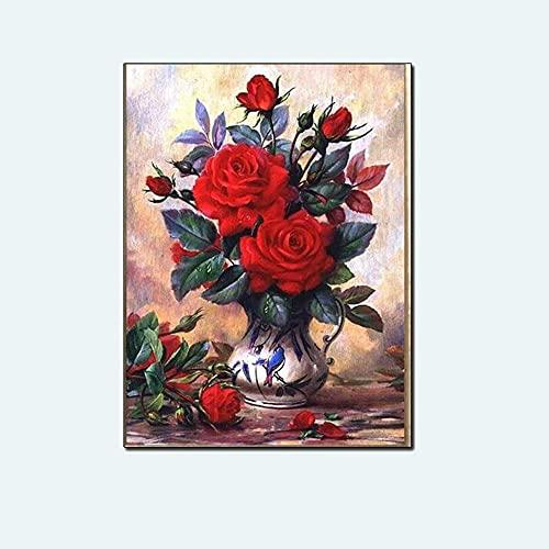 Fulanpai Diamond Painting 5D DIY Arte Pared para decoración del hogar Florero de Rosas Rojas Completo Kit Bordado de Punto de Cruz Diamante Pintura,Diamante Redondo,50x70cm