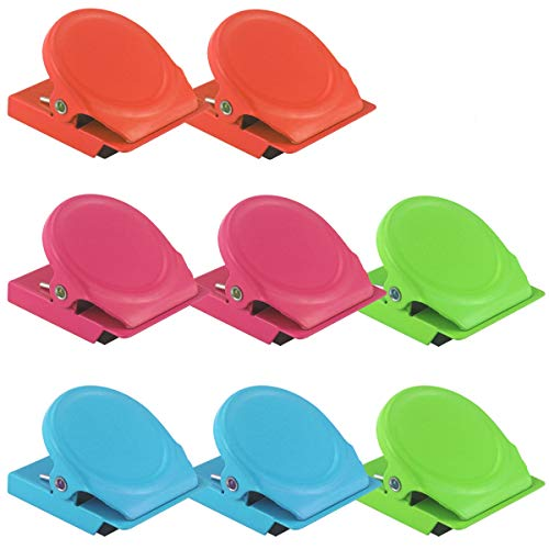 Kuqqi 8 Pcs 4 Colored Magnetic Memo Note Clips, Office Paper Clips, Wall Fridge Whiteboard Magnetic Metal Clip