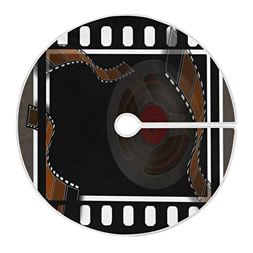 LORONA Film Video Movie Cinema Camera Christmas Tree Skirt Xmas Tree Mat 47.2 inches for Christmas Decorations Indoor Outdoor Holiday Party Home Ornaments
