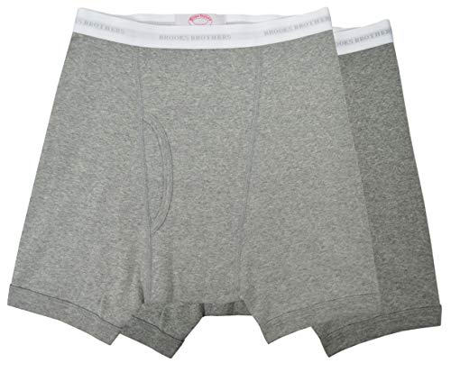 Brooks Brothers Men's Regular Fit 100% Combed Cotton Stretch Boxer Briefs Heather Grey (XL)