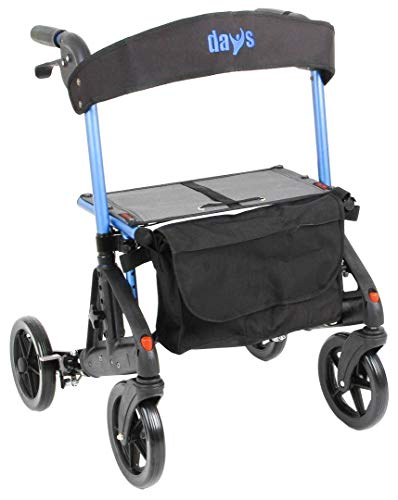 Days Fortis 4 Wheel Rollator with Adjustable Seat, Blue, Compact Size Or Standing Position, Quick Release Front Wheels, Kerb Climber, Elderly, Disabled (Eligible for VAT exemption in the UK)