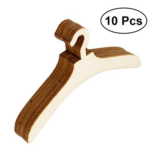 SUPVOX 10 stücke Puppe Kleiderbügel Mini Holz Kleiderbügel Puppe Möbel Spielset Mantel Kleid Veranstalter