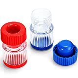 2 Pieces 2-in-1 Pill Crusher and Grinder with Storage Container, Crushes Pills, Vitamins, Tablets, Medication Pulverizer, Blue and Red