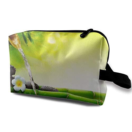 XCNGG Bolsas de maquillaje para mujer, bolsa de cosméticos de viaje portátil multiusos con cremallera, vela de orquídea de jardín asiático, piedra de bambú