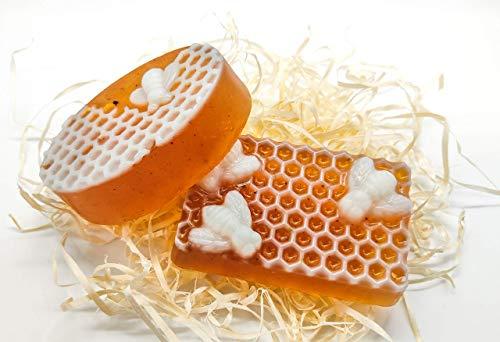 Bio Land Handgemachte Honigseife BIO Naturseife, besonders reichhaltige Seife, Feuchtigkeitsspende Honigseife mit Propolis und Traubenkernöl für alle Hauttypen, Premium Qualität, Geschenkset (2x100g)