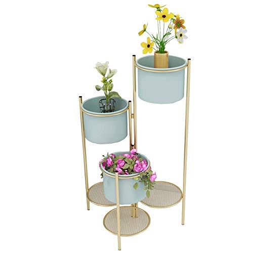 XYJNN Etagere Plantes-Cache Pot sur Pied Étagère à Fleurs Maison Balcon intérieur décoration Support en Fer forgé Salon Simple Cintre Multicouche Support de Fleur Vert