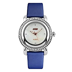 Simple Temperament Waterproof Quartz Blue Watche With Rhinestones