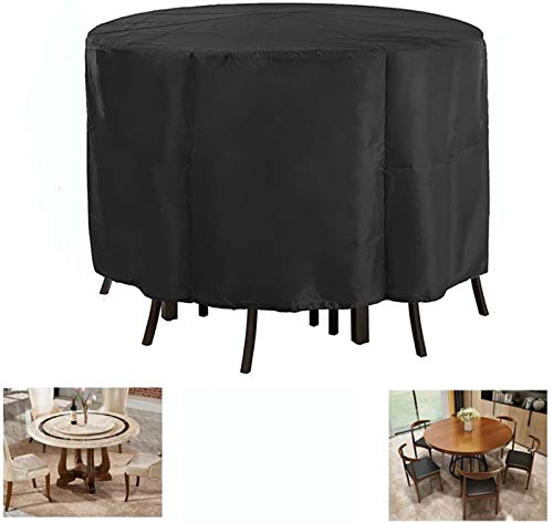 Rilime Patio Furniture Set Cover Round, Waterproof Anti-UV Outdoor Table Chair Set Cover Garden Rattan Table, Sofa, Sectional Cover Fits for 6 Seater(90' D x 43' H)