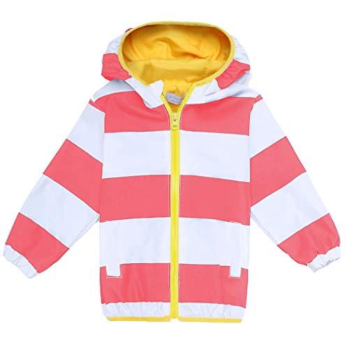 Arshiner Girls Kids Waterproof Rain Coat Jacket Hoodie Outwear, Red and White 120