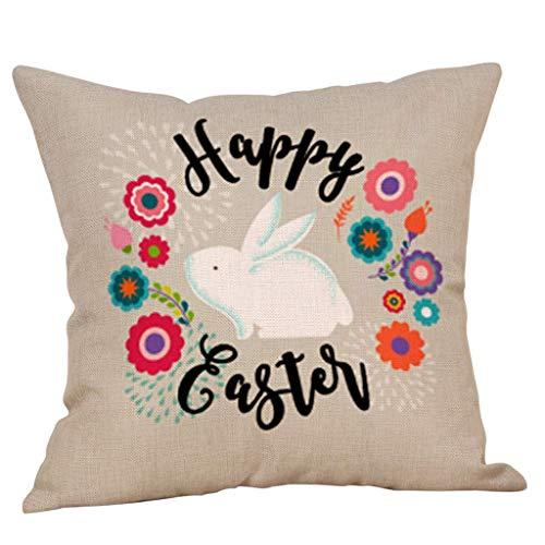 Happy Easter Bunny Funda de Almohada Sofá Funda de cojín Decoración del hogar Funda de Almohada