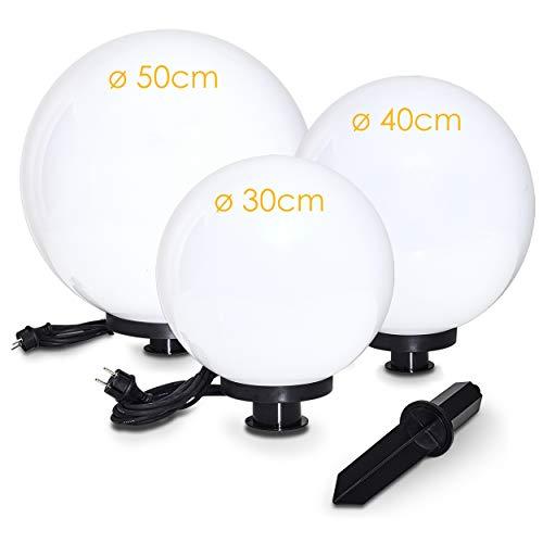 Kugelleuchte Miau, Kugellampe 3er Set, Außenleuchten aus weißem Kunststoff Ø 30, 40 und 50 cm, Leuchtkugeln mit E27-Fassung, Kugellampen mit 5 Meter Zuleitung