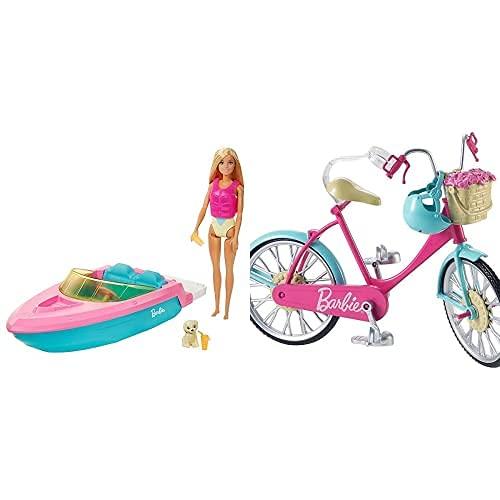 Barbie con Barco, Muñeca con Bañador Y Barco De Juguete para El Agua, con Mascota Y Accesorios Acuáticos (Mattel Grg30)+ Bicicleta, Accesorios Muñeca (Mattel Dvx55)