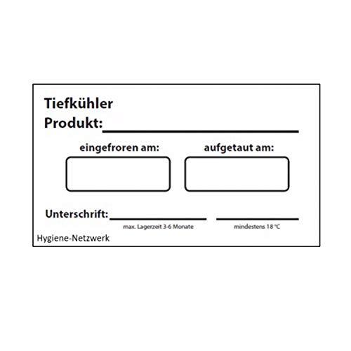 Hygiene Netzwerk Etikett Tiefkühler | 70x35mm auf einer Rolle mit Spender | 500 Label | wasserlöslich | selbstklebend | Kennzeichnung Behälter Boxen | Aufkleber | Haushaltsetiketten | Beschriftung